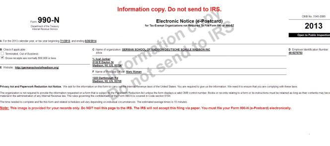 Information copy Form 990N