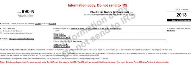 Information copy Form 990N