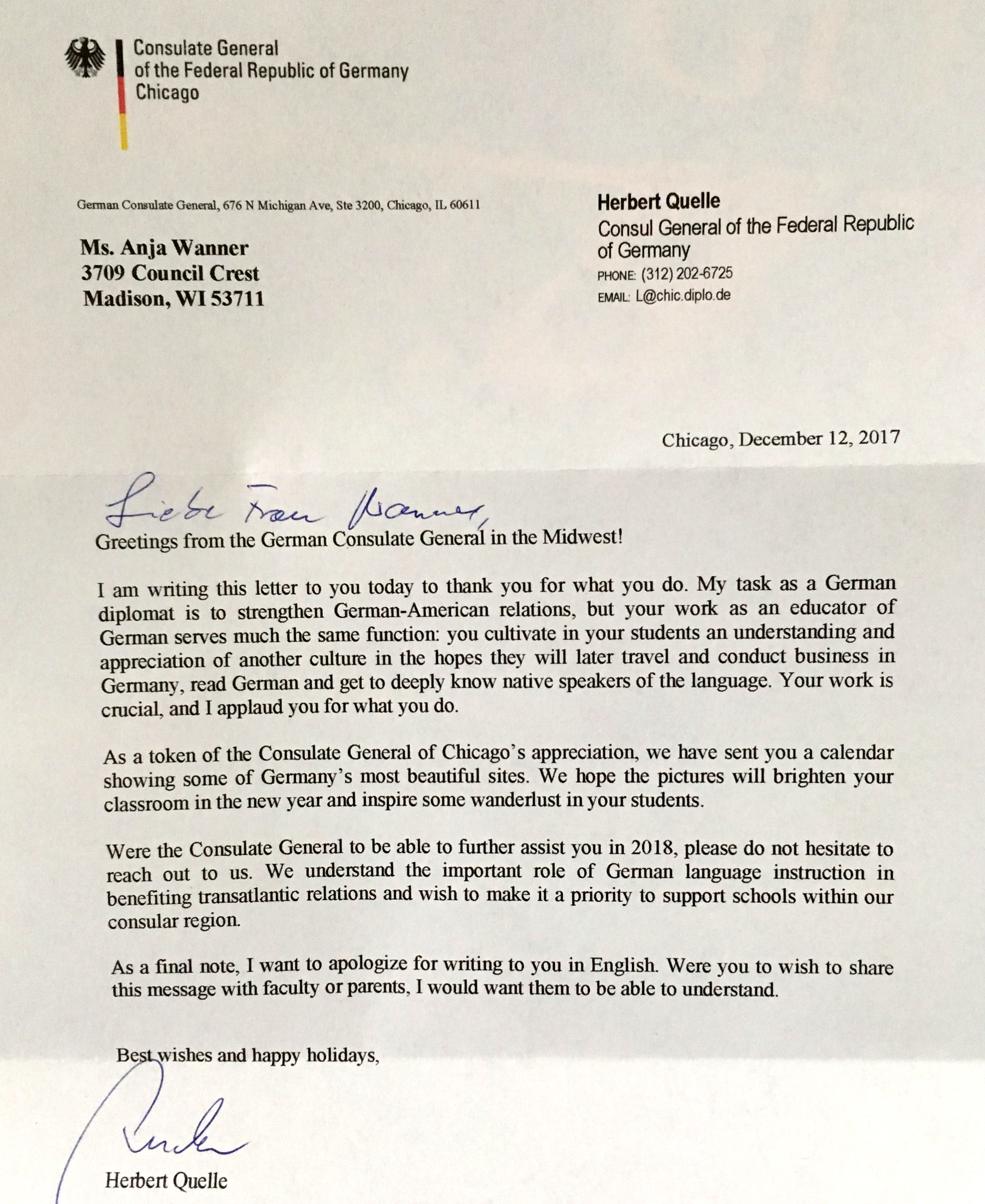 A Letter From The German Consulate General German School Of Madison